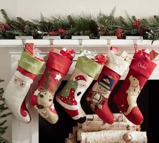 Pottery Barn Crewel Stocking - Santa with Bag