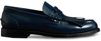 Burberry Kiltie Fringe Leather Loafers