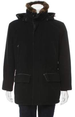 Andrew Marc Fur-Trimmed Virgin Wool Coat