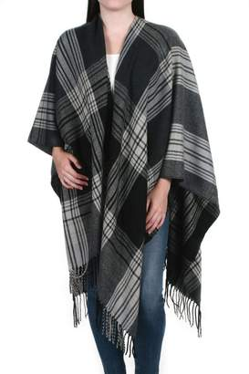 Love Stitch Lovestitch Plaid Fringed Poncho