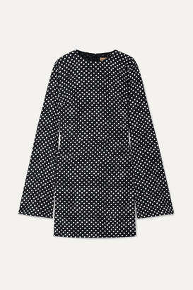 Michael Kors Polka-dot Silk-crepe Mini Dress - Black