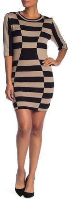 Papillon Striped Crew Neck Bodycon Dress