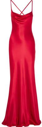 Galvan Whiteley Open-back Silk-satin Gown - Red