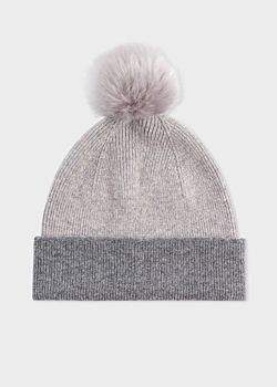 Paul Smith Women's Light Grey Pom-Pom Wool Beanie Hat