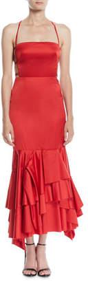 Milly Doria Strappy-Back Satin Apron Dress
