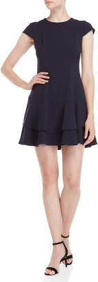 Eliza J Navy Tiered Fit & Flare Dress