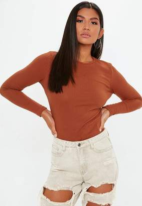 Missguided Rust Ribbed Crew Neck Top