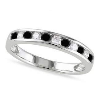Eleven Paris Allurez Stone Channel Set Round Cut Diamond and Diamond Semi Eternity Wedding Band 14K White Gold (0.44ct)