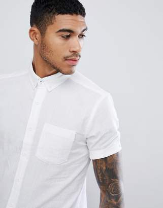 Soul Star Short Sleeve White Shirt in Slim Fit
