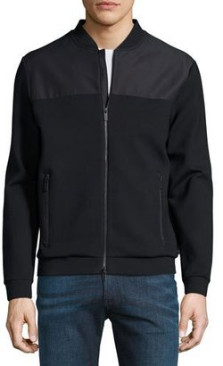 Armani Collezioni Mixed-Media Track Jacket, Navy Blue $297 thestylecure.com