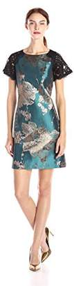 Adrianna Papell Women's Mid Length Fit and Flare Column Floral Short Sleeve Dress
