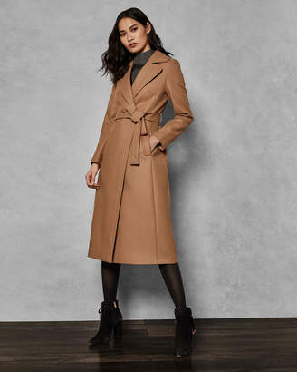 Ted Baker GABELLA Wide collar long wool wrap coat