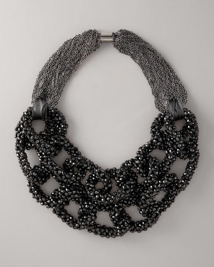 Vera Wang Layered Crystal-Chain Necklace