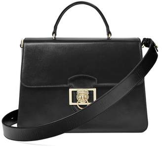 Aspinal of London Large Lion Lansdowne Bag In Smooth Black