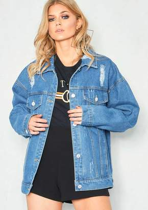45d8a306b3 Missy Empire Missyempire Milly Denim Distressed Oversized Embroidered Back  Jacket