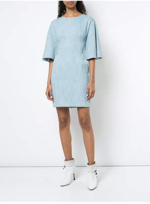 ADAM by Adam Lippes Corded Denim Mini Dress With Flutter Sleeve