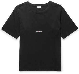 Saint Laurent Slim-Fit Printed Cotton-Jersey T-Shirt - Black