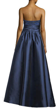 Marchesa Strapless Sequined-Bodice Mikado Ball Gown