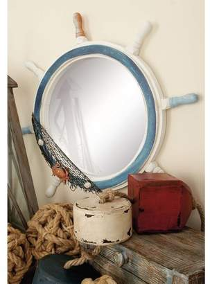 Beachcrest Home Boscawen Round Ship Wheel Wall Mirror