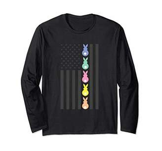 Easter Bunny American Flag T-Shirt Pastel Colors