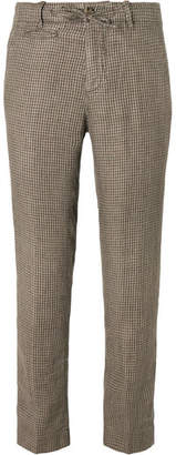 Man 1924 MAN 1924 - Tomi Houndstooth Linen Suit Trousers - Brown