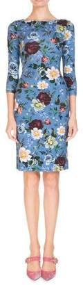 Erdem 3/4-Sleeve Floral-Print Jersey Daytime Dress