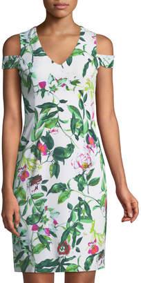 Donna Ricco Cold-Shoulder Floral Cocktail Sheath Dress