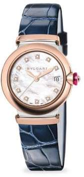 Bvlgari LVCEA Two-Tone Diamond, Mother-Of-Pearl& Blue Alligator Strap Watch
