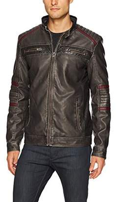 X-Ray Men's Slim Fit Faux Leather Racer Jacket with Red Pu Stripes