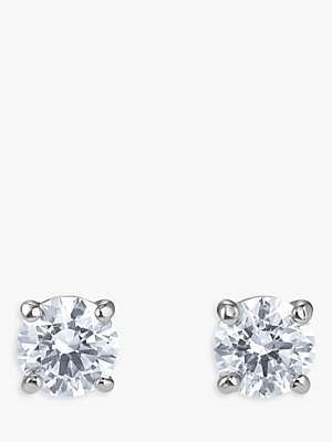 Swarovski Crystal Round Stud Earrings, Silver