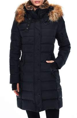 SAM. S13 Uptown Matte Water Repellent Quilted Coat with Faux Fur Trim