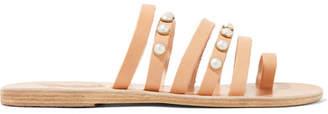 Ancient Greek Sandals Niki Faux Pearl-embellished Leather Sandals