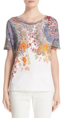 Women's Etro Floral & Paisley Print Cotton Tee $415 thestylecure.com