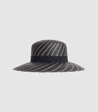 Reiss Lilly - Straw Weave Panama in Black white 45731bdfa2e