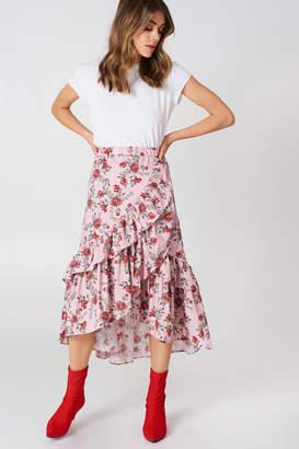 Andrea Hedenstedt X Na Kd Overlap Maxi Frill Skirt Pink Flower