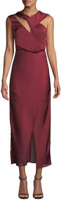 Keepsake Transcend Cutout Faux-Wrap Satin Gown