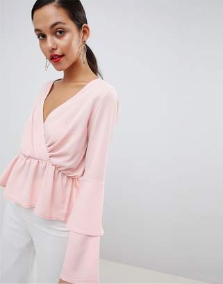 Outrageous Fortune ruffle sleeve detail top in pink