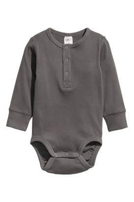 H&M Long-sleeved Bodysuit - Dark gray - Kids