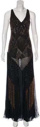 Sue Wong Silk Embellished Sleeveless Gown