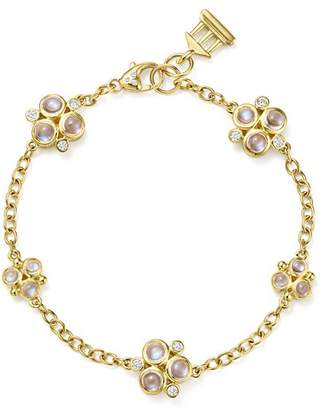 Temple St. Clair 18K Yellow Gold Royal Blue Moonstone and Diamond Trio Bracelet