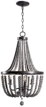 World Menagerie Louis Wood Bead 3-Light Mini Chandelier