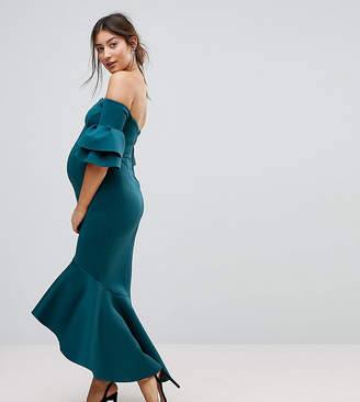 Asos PREMIUM Bardot Bodycon Pephem Midi Dress