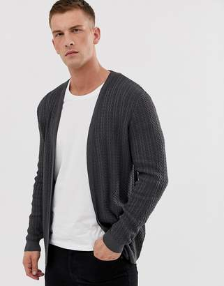 Asos Design DESIGN lightweight cable cardigan in charcoal