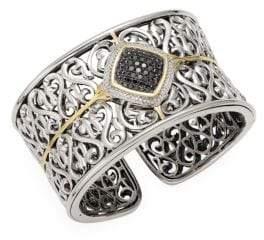 Black Diamond Ivy Sterling Silver, 18K Yellow Gold, & Diamond Cuff Bracelet