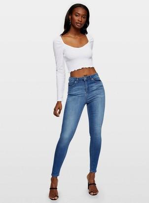 Miss Selfridge LIZZIE High Waist Super Skinny Mid Blue Jeans