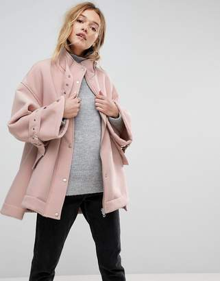 Asos DESIGN Bonded Jacket with Fleece Lining and Metalwear