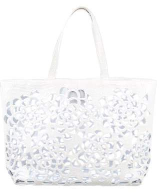 Nancy Gonzalez Crocodile Floral Laser Cut Tote