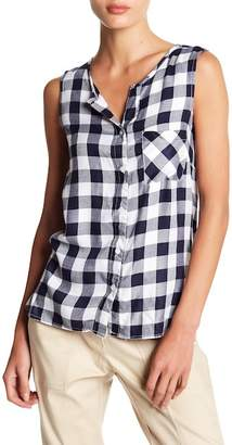 Fever Split Back Plaid Sleeveless Shirt