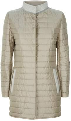 Cinzia Rocca Jacquard Trim Puffer Jacket