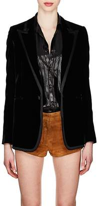 Saint Laurent Women's Ribbon-Trimmed Corduroy Blazer
